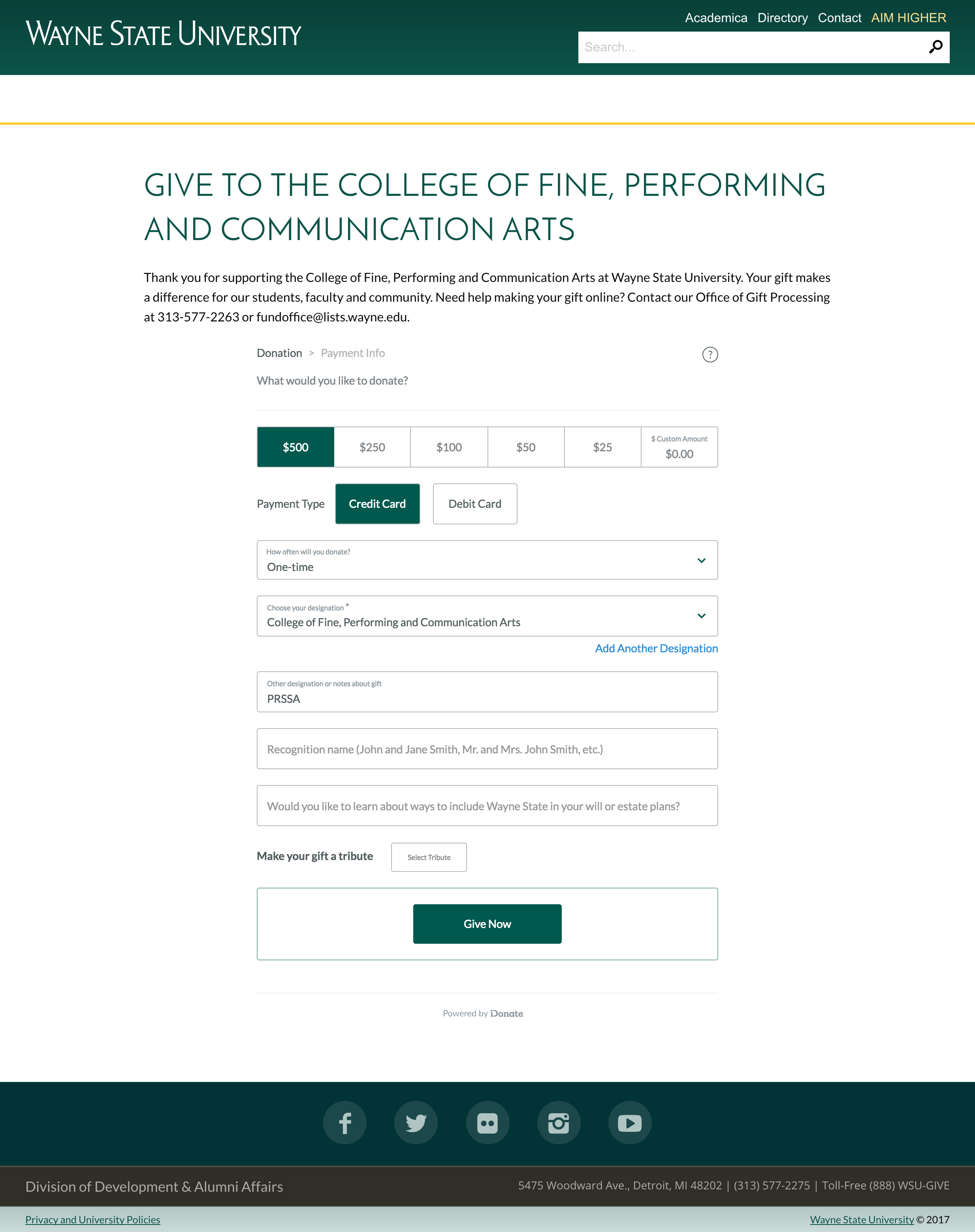PRSSA website - Give to the College of Fine, Performi_ - https___giving.wayne.edu_donate_cfpca.png